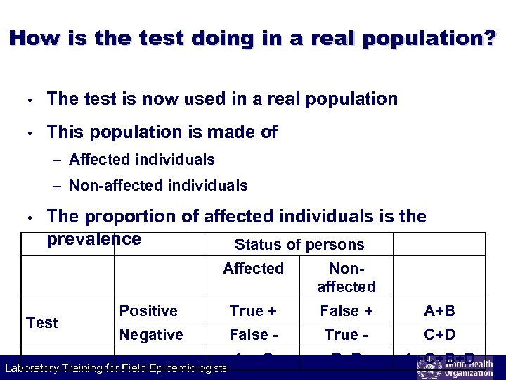 How is the test doing in a real population? • The test is now