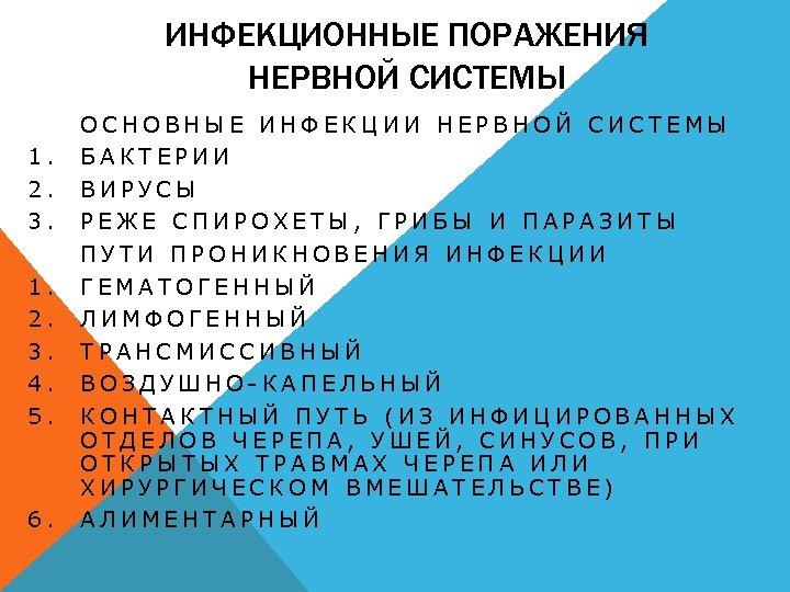 ИНФЕКЦИОННЫЕ ПОРАЖЕНИЯ НЕРВНОЙ СИСТЕМЫ 1. 2. 3. 4. 5. 6. ОСНОВНЫЕ ИНФЕКЦИИ НЕРВНОЙ СИСТЕМЫ