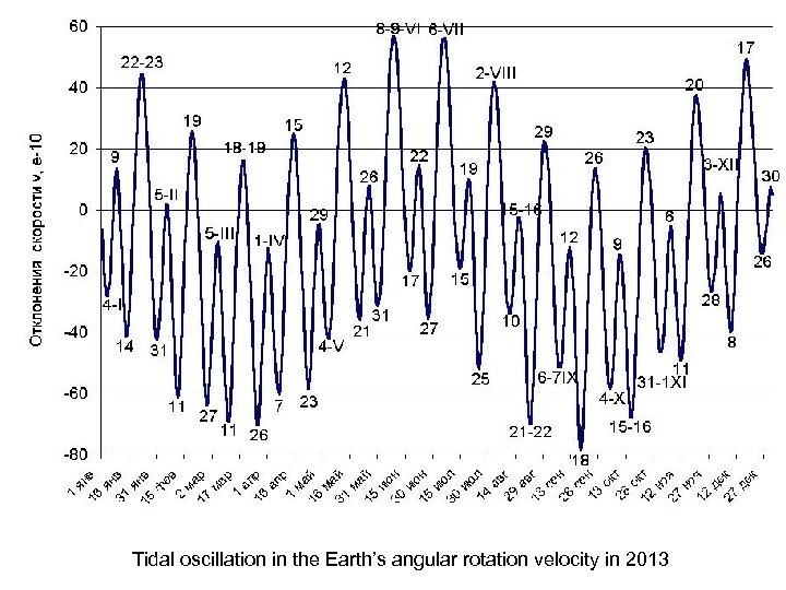 Tidal oscillation in the Earth's angular rotation velocity in 2013