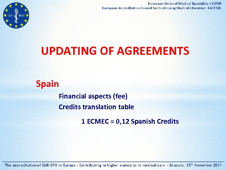 UPDATING OF AGREEMENTS Spain Financial aspects (fee) Credits translation table 1 ECMEC = 0,