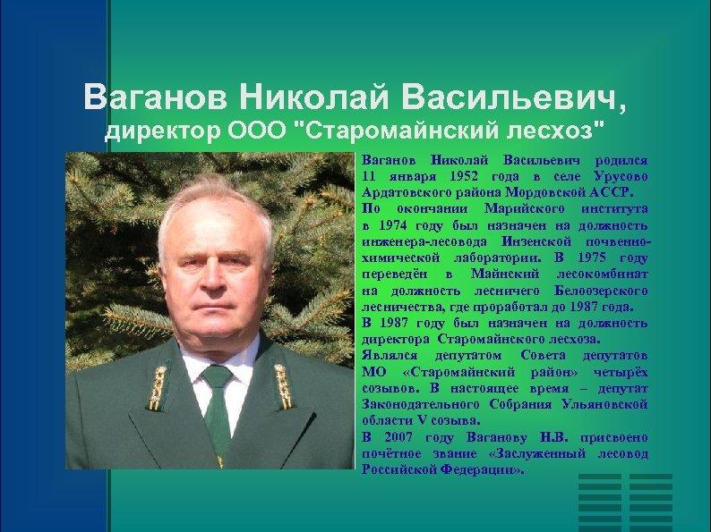 Ваганов Николай Васильевич, директор ООО