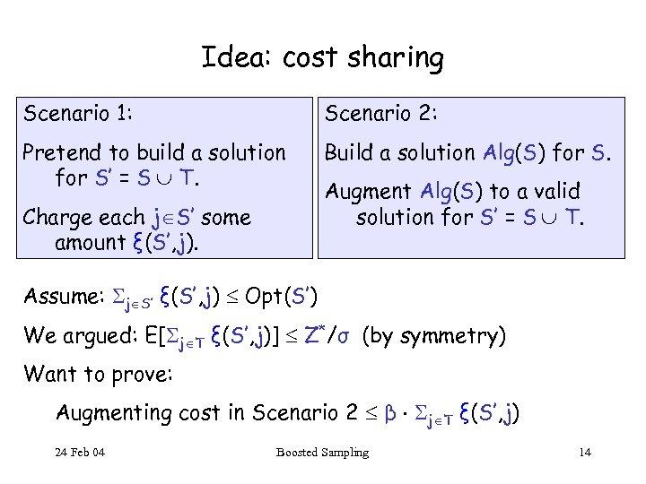 Idea: cost sharing Scenario 1: Scenario 2: Pretend to build a solution for S'