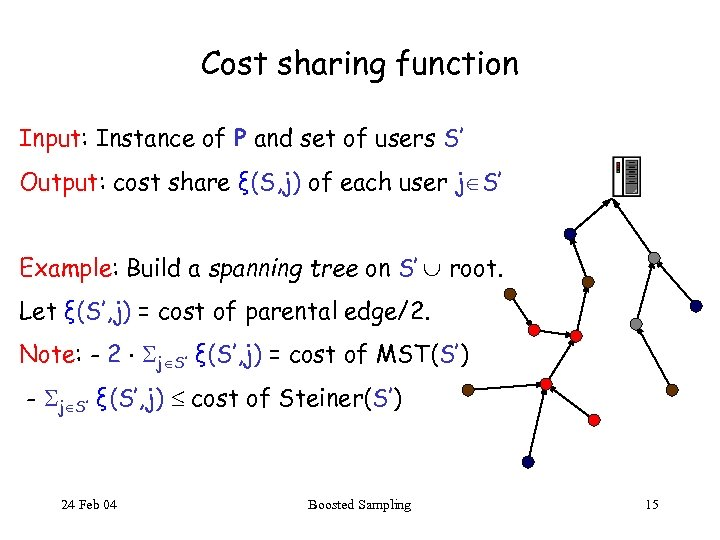 Cost sharing function Input: Instance of P and set of users S' Output: cost