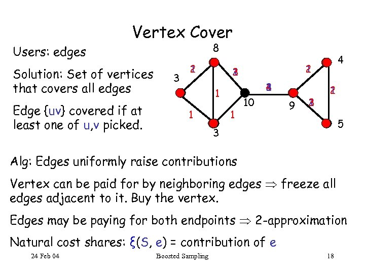 Vertex Cover 8 Users: edges Solution: Set of vertices that covers all edges Edge