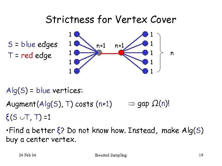 Strictness for Vertex Cover 1 S = blue edges T = red edge 1