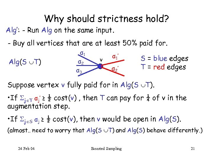Why should strictness hold? Alg': - Run Alg on the same input. - Buy