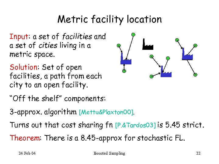 Metric facility location Input: a set of facilities and a set of cities living