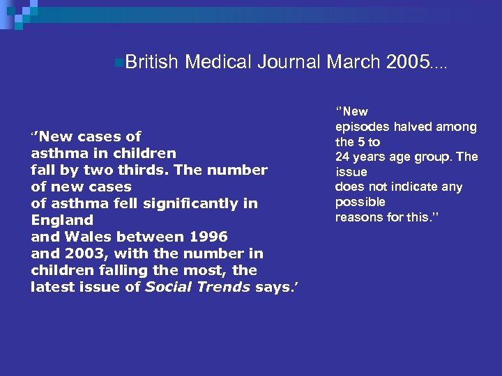 n. British ''New cases of Medical Journal March 2005…. asthma in children fall by