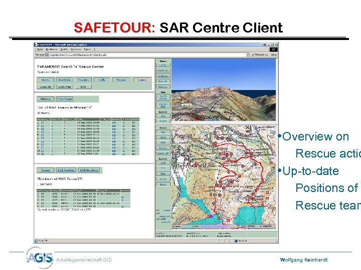 SAFETOUR: SAR Centre Client • Overview on Rescue actio • Up-to-date Positions of Rescue