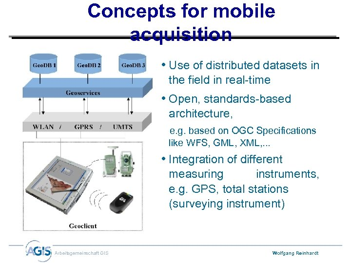 Concepts for mobile acquisition • Use of distributed datasets in the field in real-time
