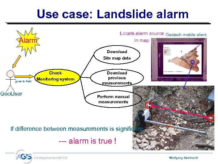 Use case: Landslide alarm Locate alarm source Geotech mobile client in map Alarm Download