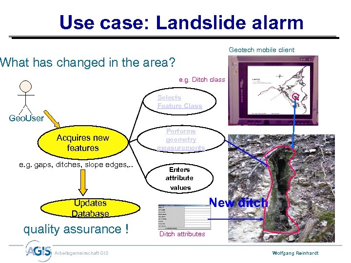 Use case: Landslide alarm Geotech mobile client What has changed in the area? e.