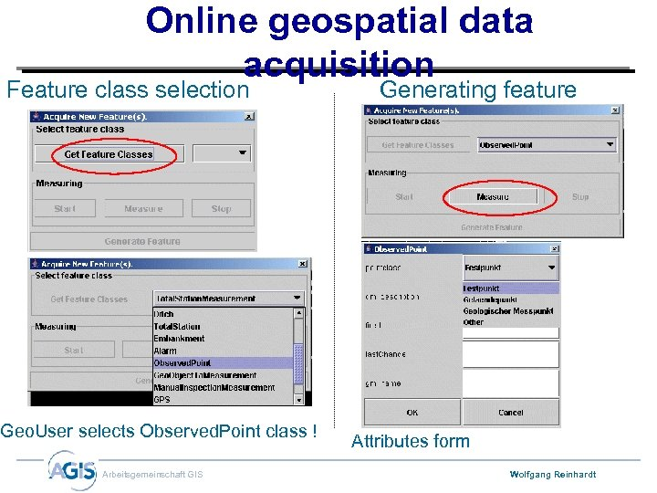 Online geospatial data acquisition Feature class selection Geo. User selects Observed. Point class !