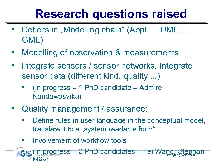 "Research questions raised • Deficits in ""Modelling chain"" (Appl. . UML, . . ."