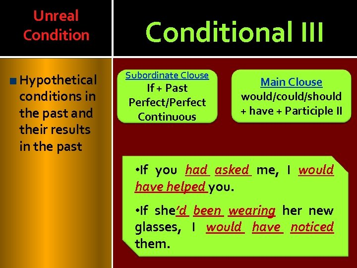 Unreal Condition Hypothetical conditions in the past and their results in the past Conditional