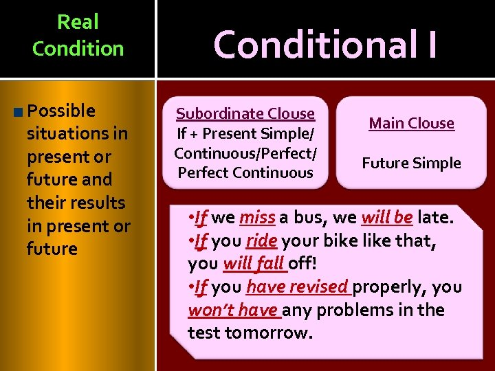 Real Condition Possible situations in present or future and their results in present or