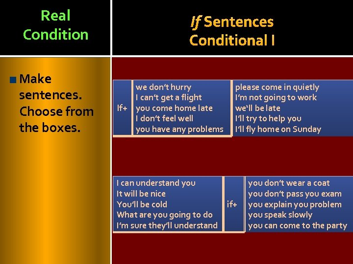 Real Condition Make sentences. Choose from the boxes. If Sentences Conditional I we don't