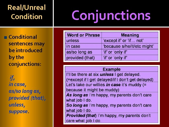 Real/Unreal Conditional sentences may be introduced by the conjunctions: if, in case, as/so long