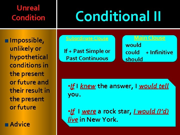 Unreal Condition Impossible, unlikely or hypothetical conditions in the present or future and their