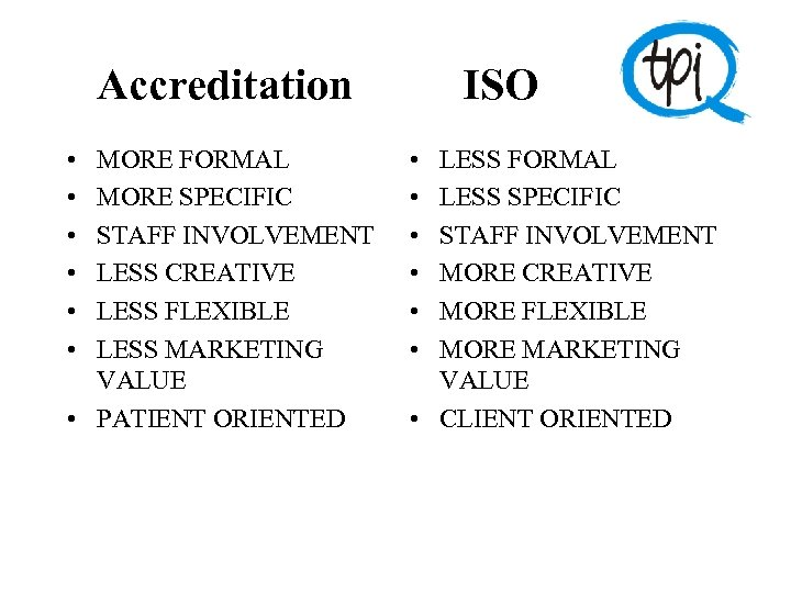 Accreditation ISO • • • MORE FORMAL MORE SPECIFIC STAFF INVOLVEMENT LESS CREATIVE LESS
