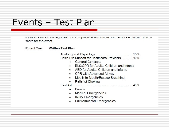 Events – Test Plan