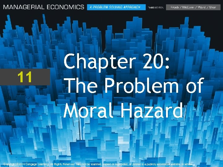 11 Chapter 20: The Problem of Moral Hazard 1 Copyright © 2014 Cengage Learning.