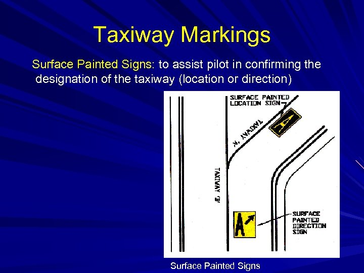 Taxiway Markings Surface Painted Signs: to assist pilot in confirming the designation of the