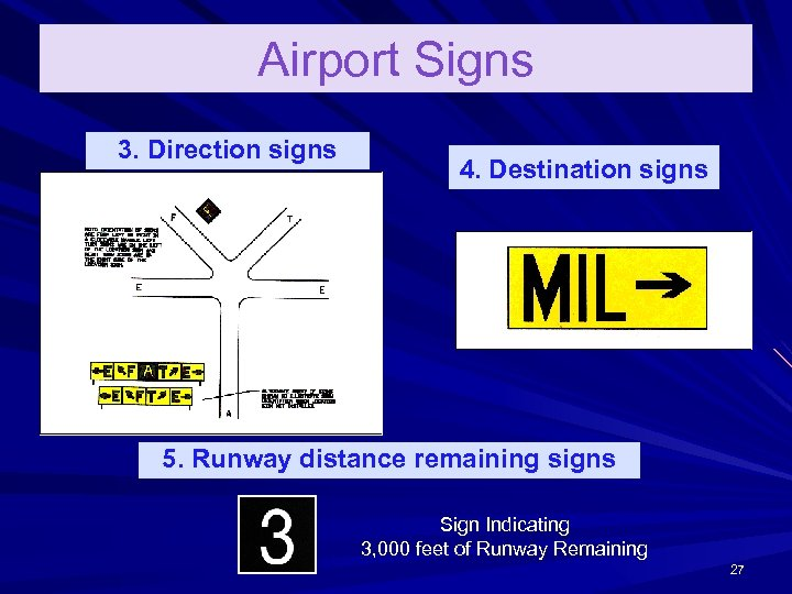 Airport Signs 3. Direction signs 4. Destination signs 5. Runway distance remaining signs Sign