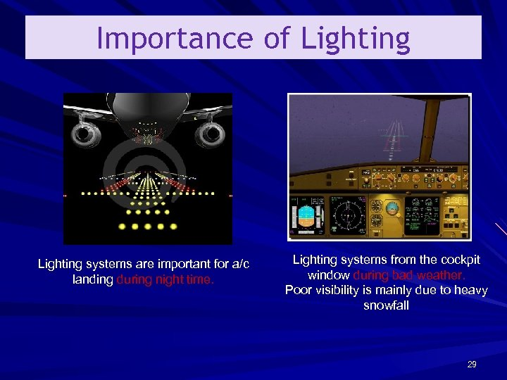 Importance of Lighting systems are important for a/c landing during night time. Lighting systems