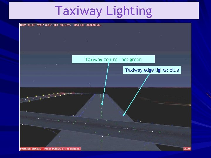Taxiway Lighting Taxiway centre line: green Taxiway edge lights: blue