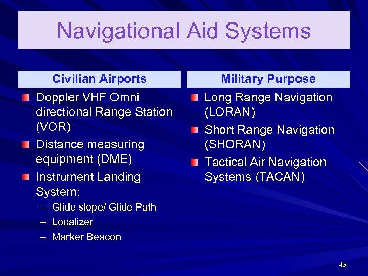 Navigational Aid Systems Civilian Airports Doppler VHF Omni directional Range Station (VOR) Distance measuring