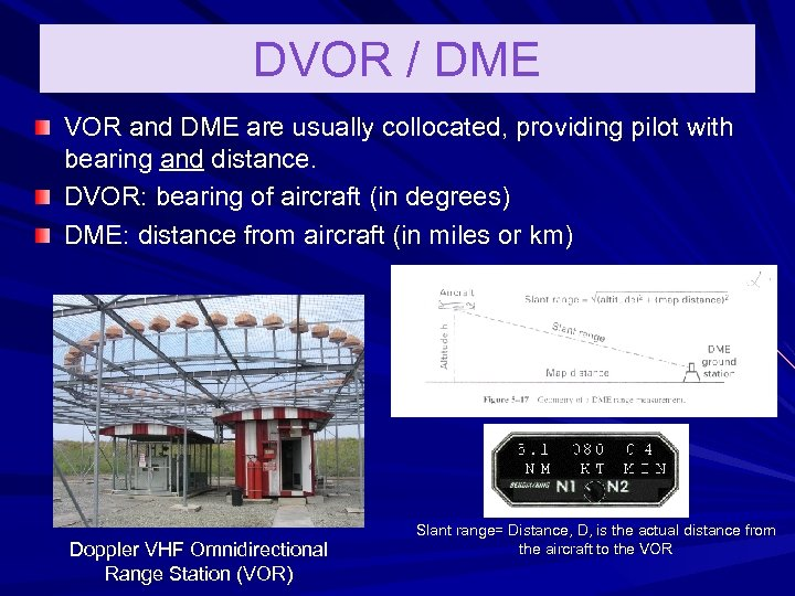 DVOR / DME VOR and DME are usually collocated, providing pilot with bearing and