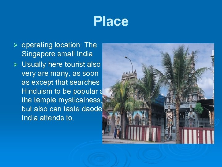 Place operating location: The Singapore small India Ø Usually here tourist also very are