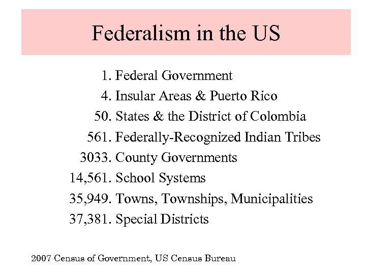 Federalism in the US 1. Federal Government 4. Insular Areas & Puerto Rico 50.