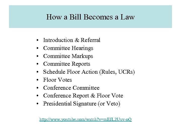 How a Bill Becomes a Law • • • Introduction & Referral Committee Hearings