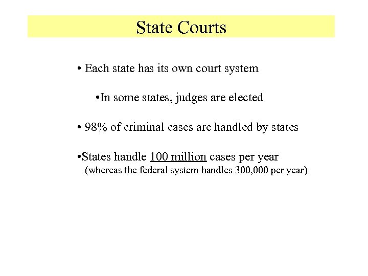 State Courts • Each state has its own court system • In some states,