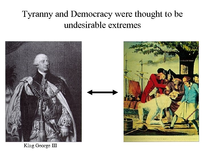 Tyranny and Democracy were thought to be undesirable extremes King George III