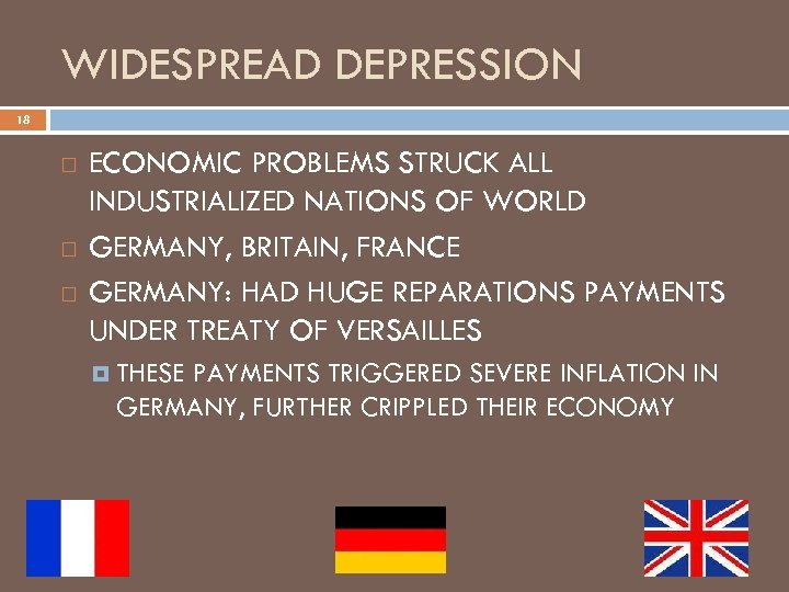 WIDESPREAD DEPRESSION 18 ECONOMIC PROBLEMS STRUCK ALL INDUSTRIALIZED NATIONS OF WORLD GERMANY, BRITAIN, FRANCE
