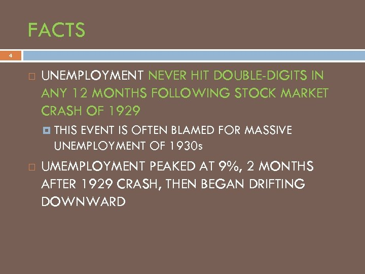 FACTS 4 UNEMPLOYMENT NEVER HIT DOUBLE-DIGITS IN ANY 12 MONTHS FOLLOWING STOCK MARKET CRASH
