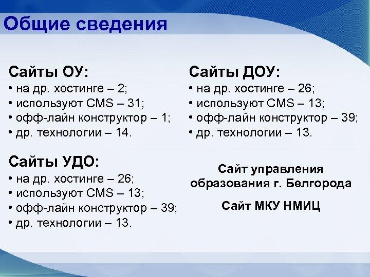 Общие сведения Сайты ОУ: Сайты ДОУ: • на др. хостинге – 2; • используют
