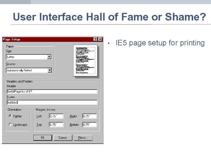 User Interface Hall of Fame or Shame? • • IE 5 page setup for