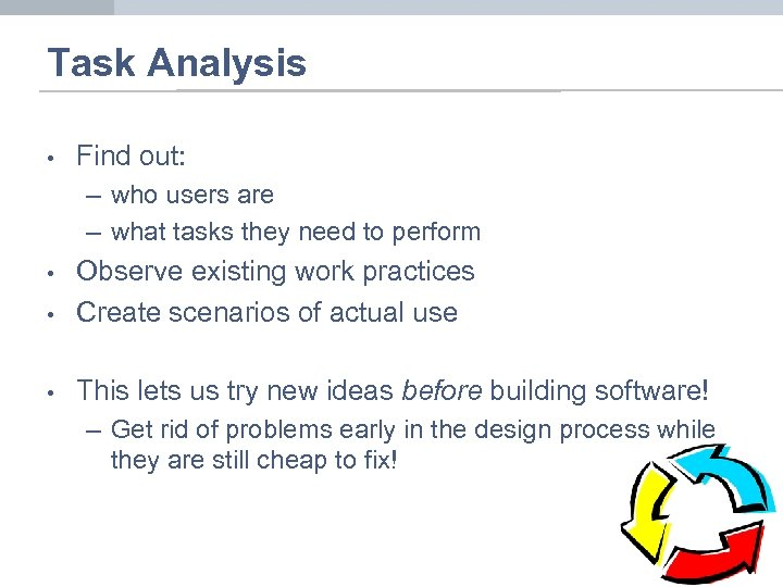 Task Analysis • Find out: – who users are – what tasks they need