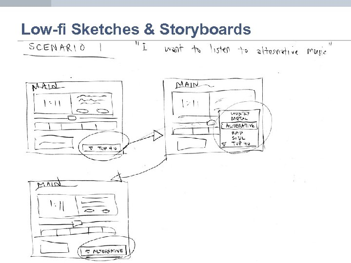 Low-fi Sketches & Storyboards