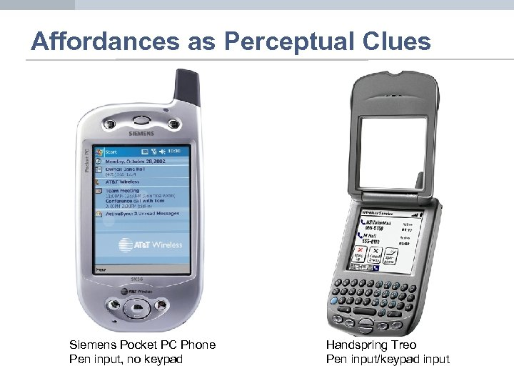 Affordances as Perceptual Clues Siemens Pocket PC Phone Pen input, no keypad Handspring Treo