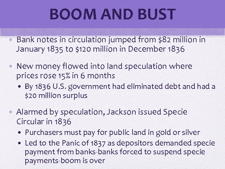 BOOM AND BUST • Bank notes in circulation jumped from $82 million in January