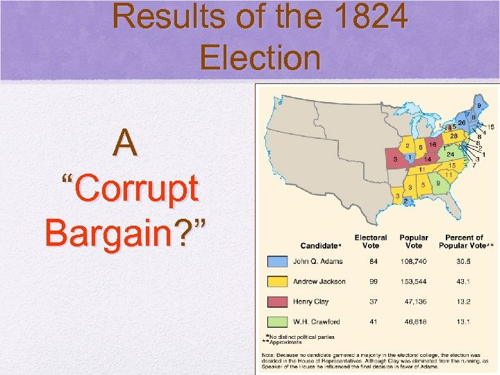 "Results of the 1824 Election © 2006 Pearson Education, Inc. A ""Corrupt Bargain? """