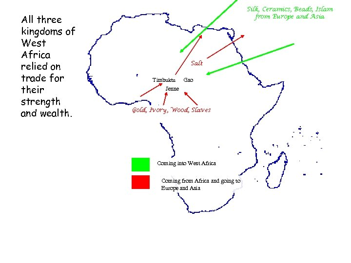 All three kingdoms of West Africa relied on trade for their strength and wealth.