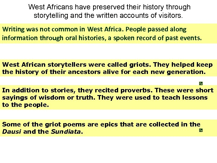 West Africans have preserved their history through storytelling and the written accounts of visitors.