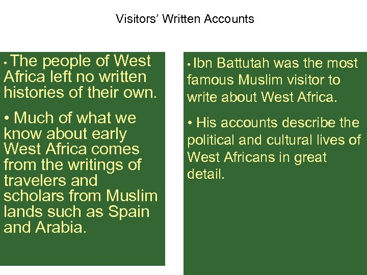 Visitors' Written Accounts The people of West Africa left no written histories of their