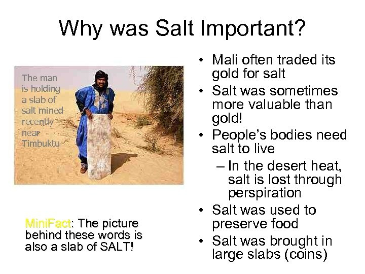 Why was Salt Important? The man is holding a slab of salt mined recently